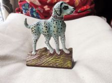 UNUSUAL HANDPAINTED CAST IRON DOOR STOP DALMATIAN SPOTTY HOUND DOG 8""